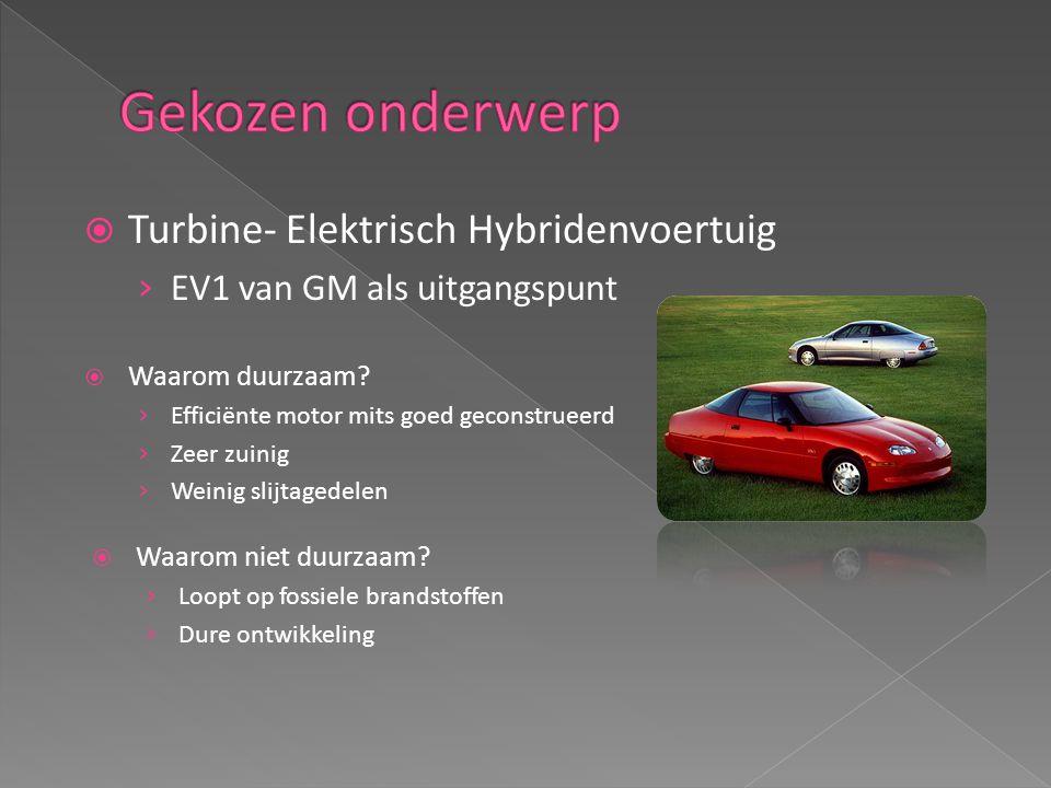  Turbine- Elektrisch Hybridenvoertuig › EV1 van GM als uitgangspunt  Waarom duurzaam.