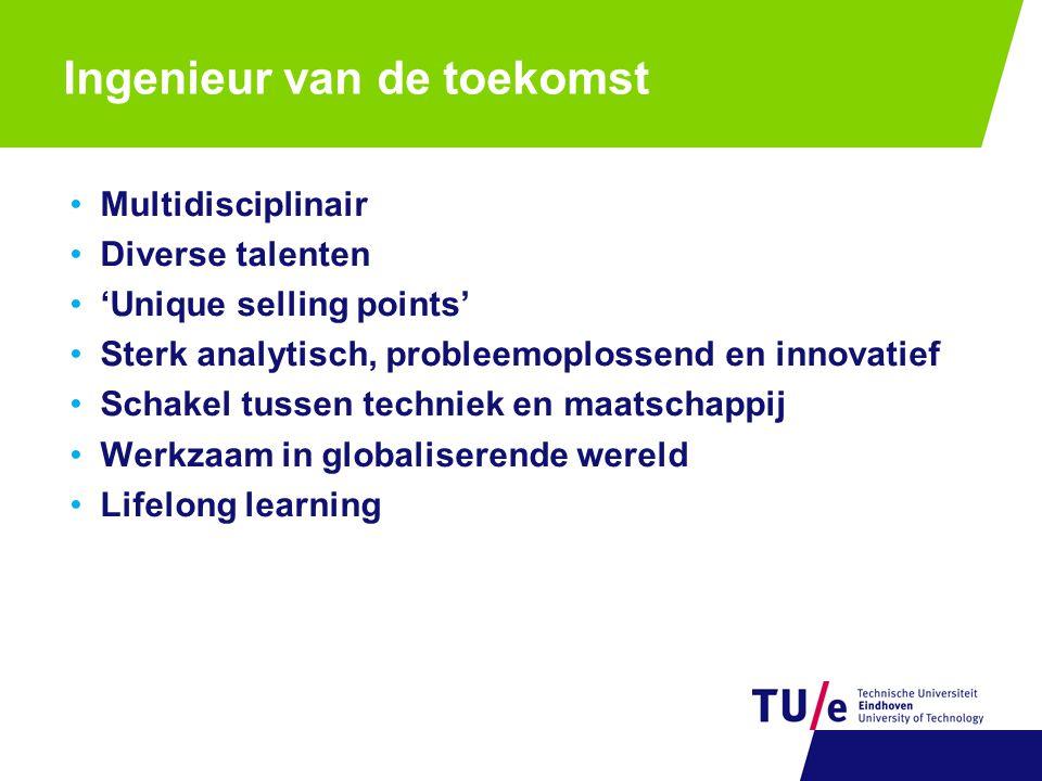 Ingenieur van de toekomst Multidisciplinair Diverse talenten 'Unique selling points' Sterk analytisch, probleemoplossend en innovatief Schakel tussen