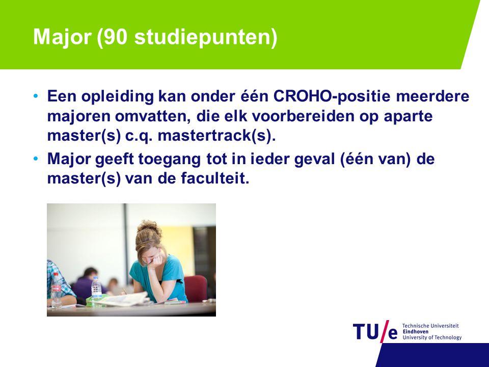 Major (90 studiepunten) Een opleiding kan onder één CROHO-positie meerdere majoren omvatten, die elk voorbereiden op aparte master(s) c.q. mastertrack