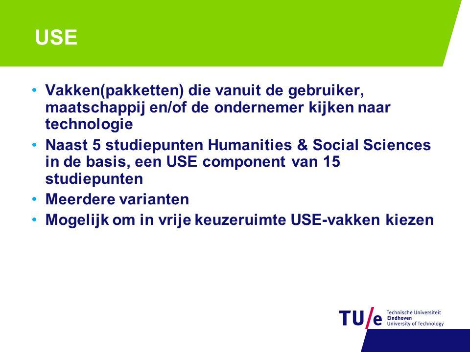 USE Vakken(pakketten) die vanuit de gebruiker, maatschappij en/of de ondernemer kijken naar technologie Naast 5 studiepunten Humanities & Social Sciences in de basis, een USE component van 15 studiepunten Meerdere varianten Mogelijk om in vrije keuzeruimte USE-vakken kiezen