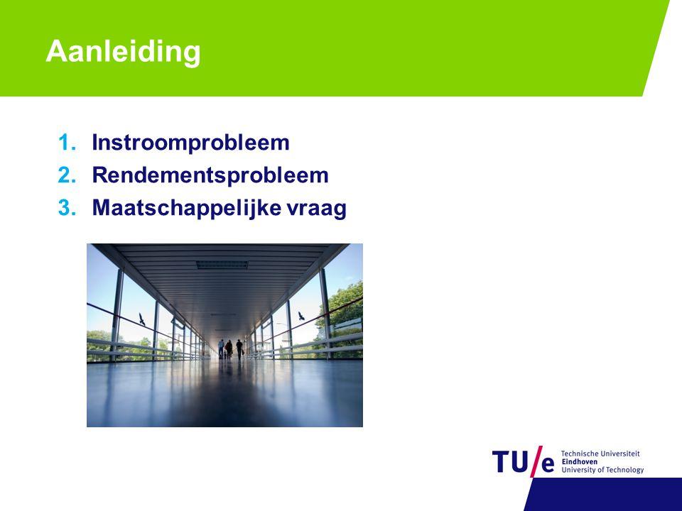 Aanleiding 1.Instroomprobleem 2.Rendementsprobleem 3.Maatschappelijke vraag