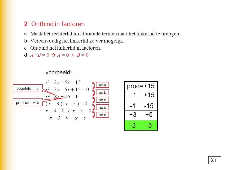 3 De abc-formule Bij kwadratische vergelijkingen kun je de oplossing berekenen met de abc – formule als ontbinden in factoren niet lukt.