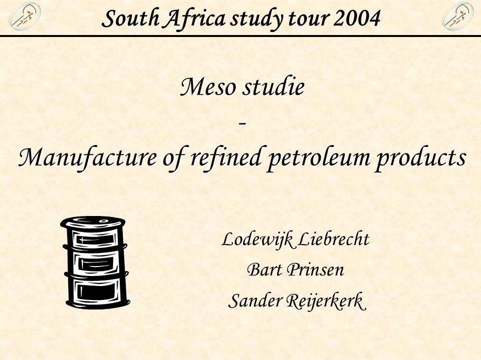 South Africa study tour 2004 Lodewijk Liebrecht Bart Prinsen Sander Reijerkerk Meso studie - Manufacture of refined petroleum products