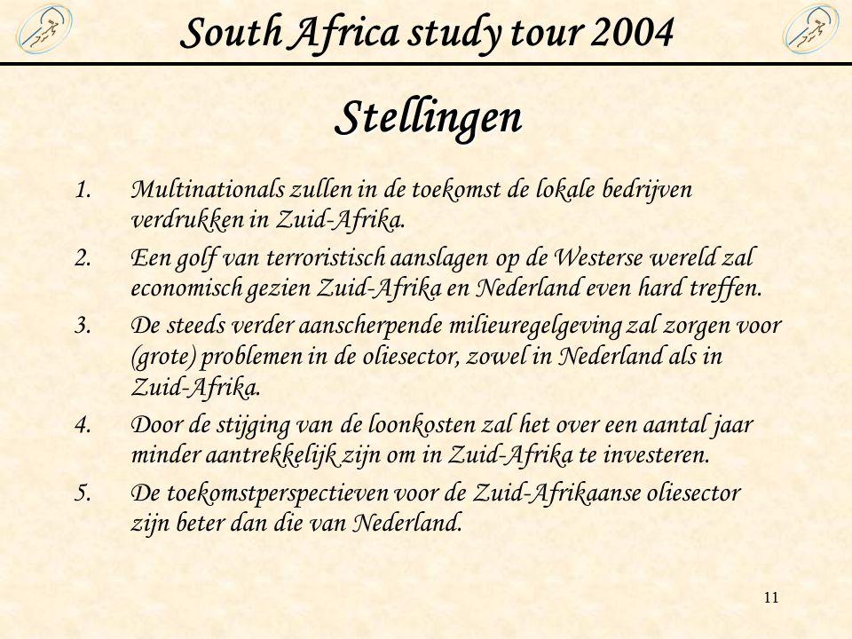 South Africa study tour 2004 11 Stellingen 1.Multinationals zullen in de toekomst de lokale bedrijven verdrukken in Zuid-Afrika.