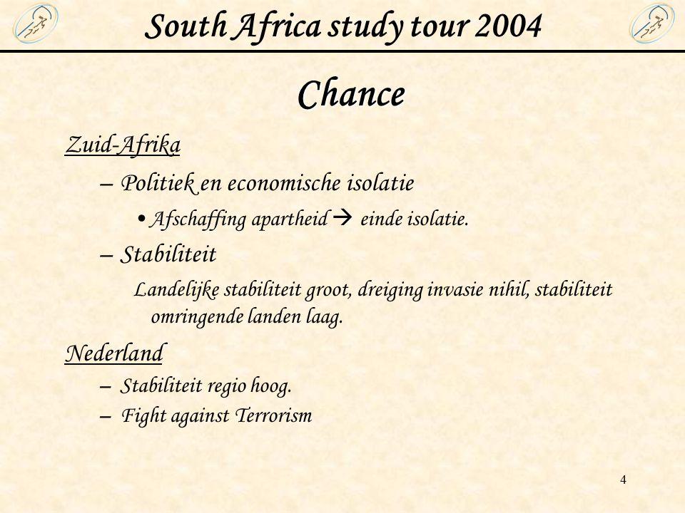 South Africa study tour 2004 4 Chance Zuid-Afrika –Politiek en economische isolatie Afschaffing apartheid  einde isolatie.