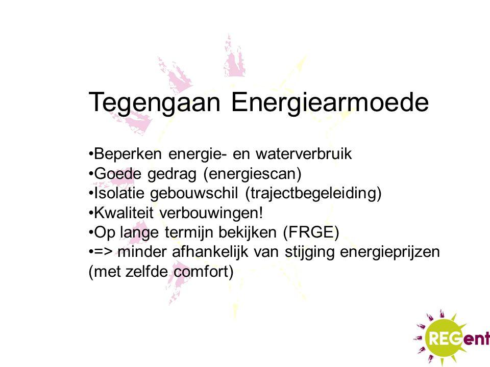 Tegengaan Energiearmoede Beperken energie- en waterverbruik Goede gedrag (energiescan) Isolatie gebouwschil (trajectbegeleiding) Kwaliteit verbouwinge