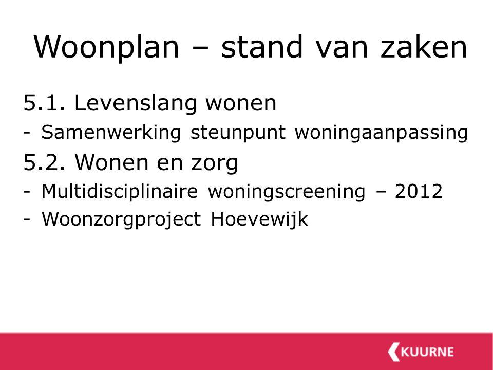 Woonplan – stand van zaken 5.1. Levenslang wonen -Samenwerking steunpunt woningaanpassing 5.2. Wonen en zorg -Multidisciplinaire woningscreening – 201