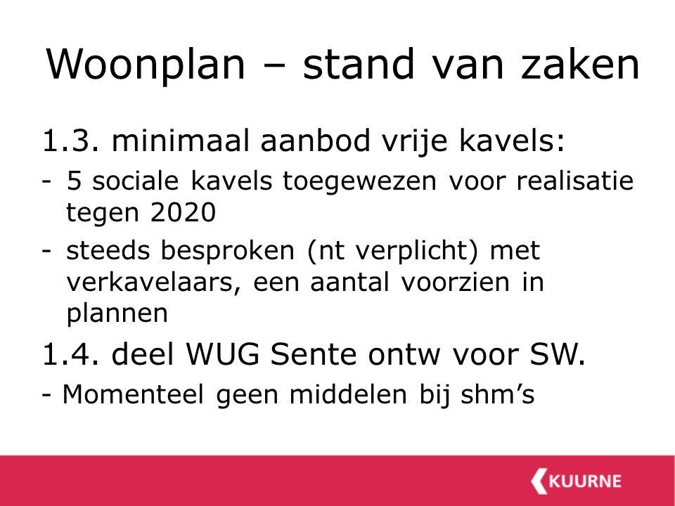 Woonplan – stand van zaken 1.3. minimaal aanbod vrije kavels: -5 sociale kavels toegewezen voor realisatie tegen 2020 -steeds besproken (nt verplicht)