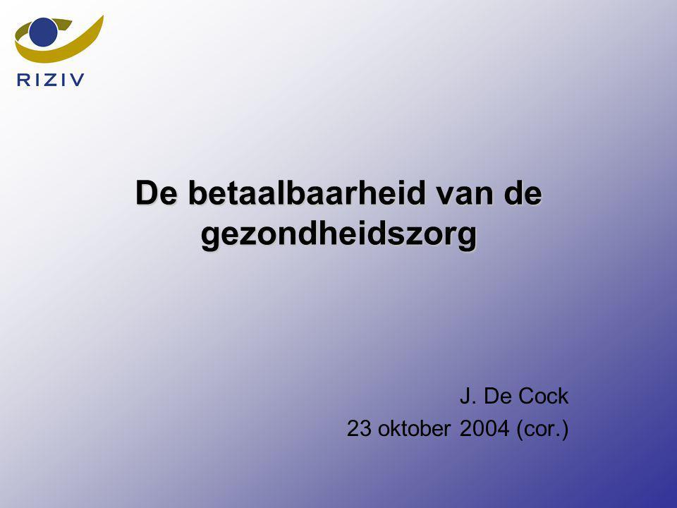 De betaalbaarheid van de gezondheidszorg J. De Cock 23 oktober 2004 (cor.)