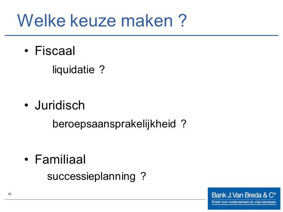 15 Welke keuze maken ? Fiscaal liquidatie ? Juridisch beroepsaansprakelijkheid ? Familiaal successieplanning ?