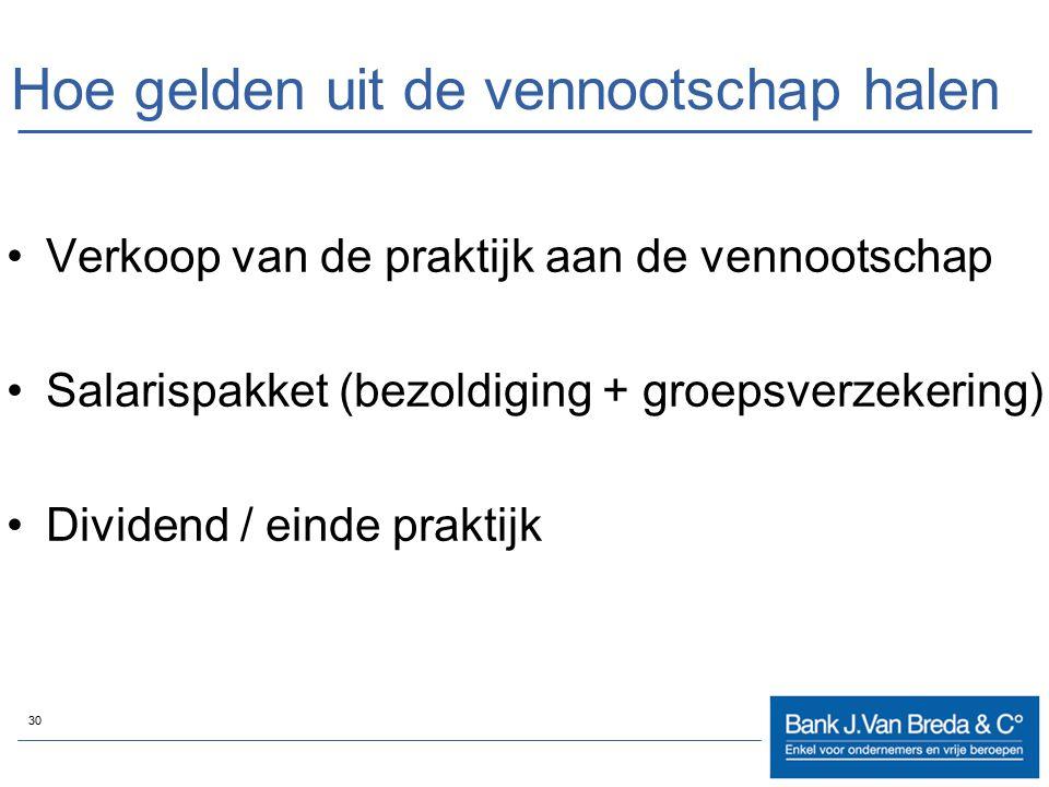 30 Hoe gelden uit de vennootschap halen Verkoop van de praktijk aan de vennootschap Salarispakket (bezoldiging + groepsverzekering) Dividend / einde p