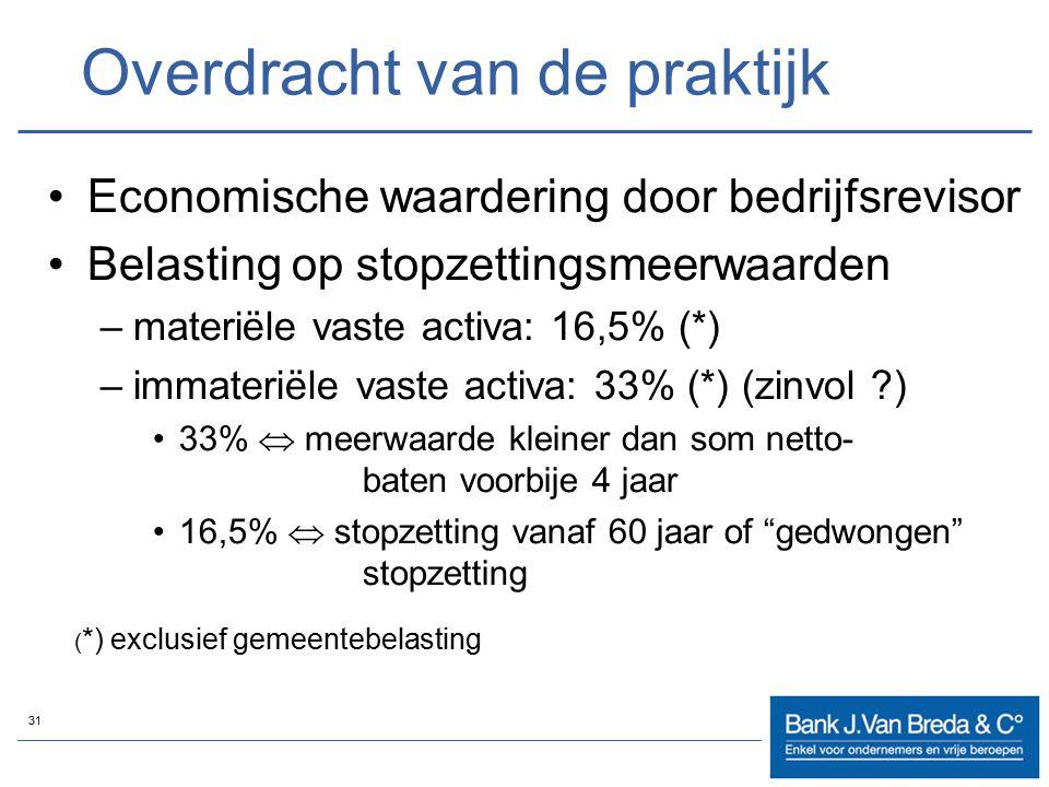 31 Overdracht van de praktijk Economische waardering door bedrijfsrevisor Belasting op stopzettingsmeerwaarden –materiële vaste activa: 16,5% (*) –imm