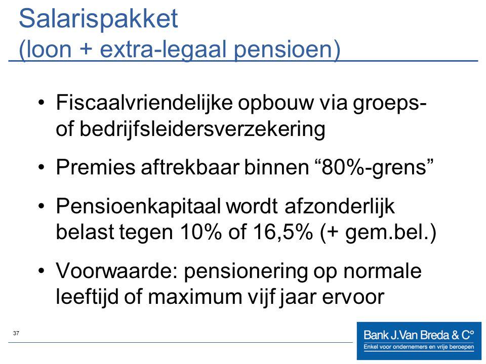 """37 Salarispakket (loon + extra-legaal pensioen) Fiscaalvriendelijke opbouw via groeps- of bedrijfsleidersverzekering Premies aftrekbaar binnen """"80%-gr"""