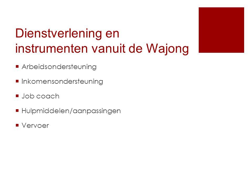 Dienstverlening en instrumenten vanuit de Wajong  Arbeidsondersteuning  Inkomensondersteuning  Job coach  Hulpmiddelen/aanpassingen  Vervoer