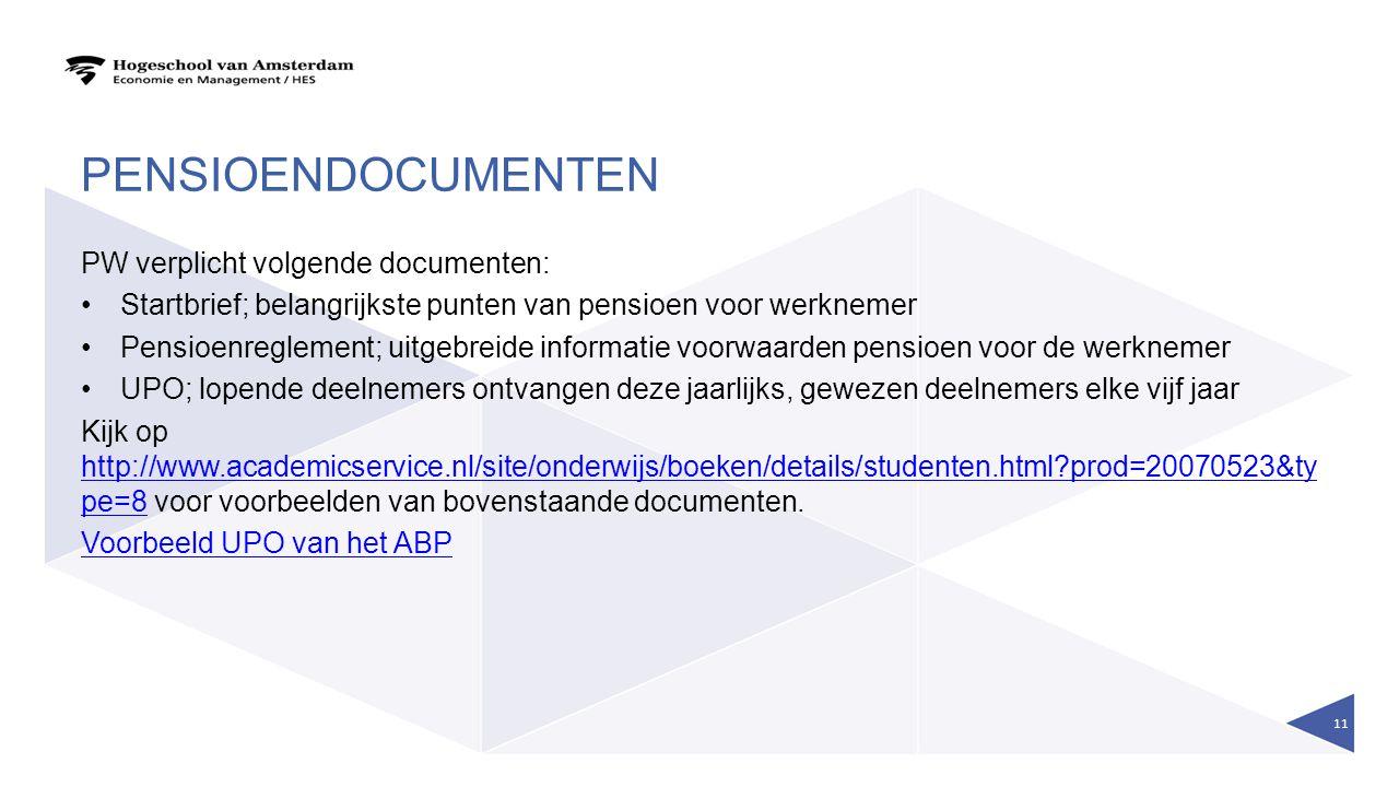 PENSIOENDOCUMENTEN PW verplicht volgende documenten: Startbrief; belangrijkste punten van pensioen voor werknemer Pensioenreglement; uitgebreide infor