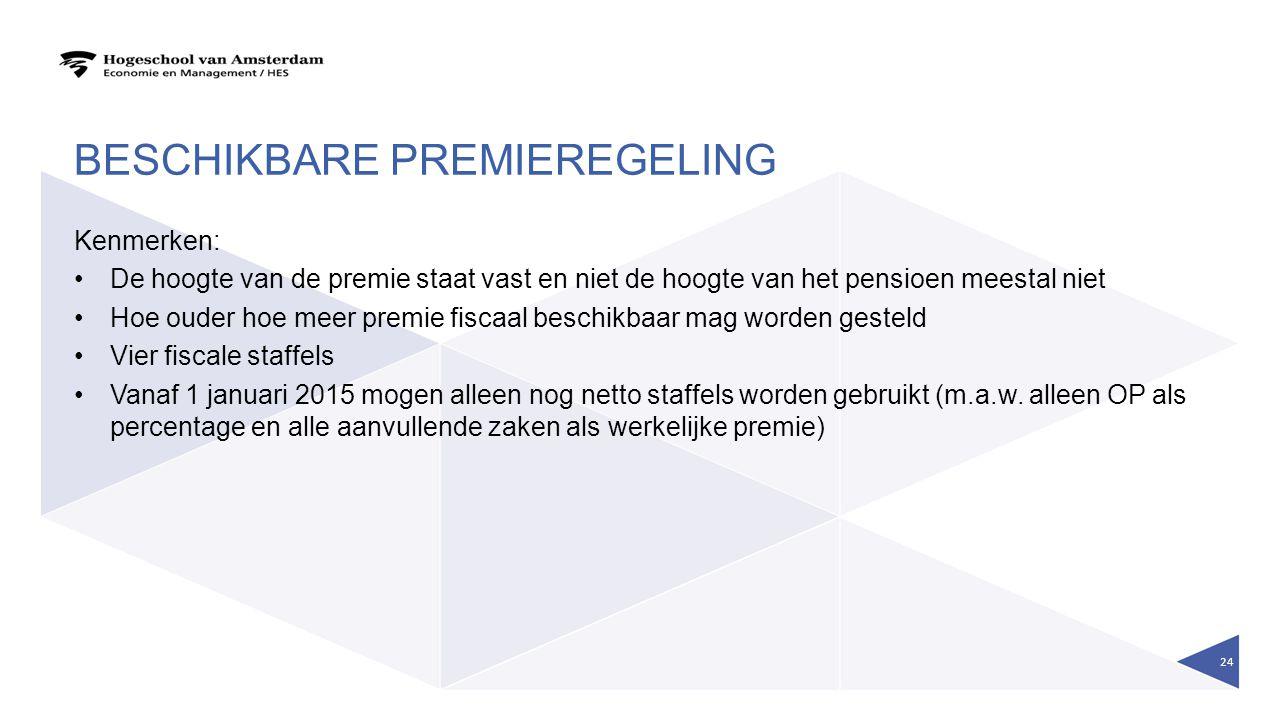 BESCHIKBARE PREMIEREGELING Kenmerken: De hoogte van de premie staat vast en niet de hoogte van het pensioen meestal niet Hoe ouder hoe meer premie fis