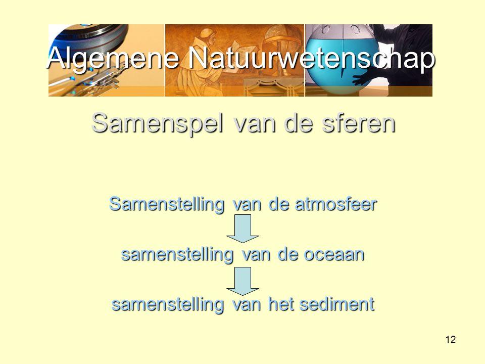 Algemene Natuurwetenschap 12 Samenspel van de sferen Samenstelling van de atmosfeer samenstelling van de oceaan samenstelling van het sediment