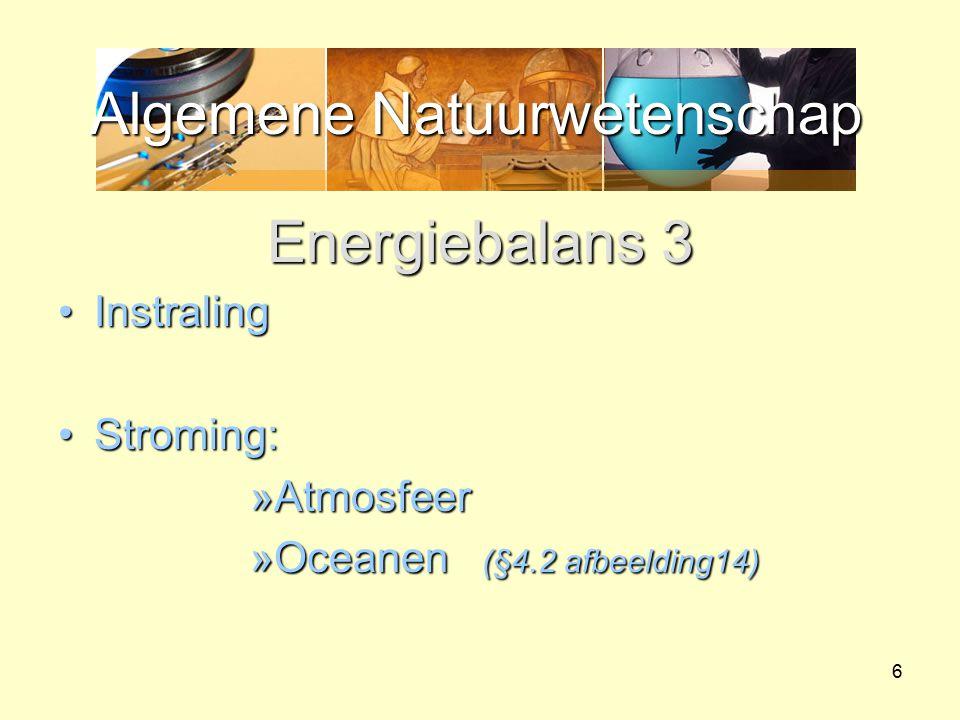 Algemene Natuurwetenschap 6 Energiebalans 3 InstralingInstraling Stroming:Stroming: »Atmosfeer »Oceanen (§4.2 afbeelding14)