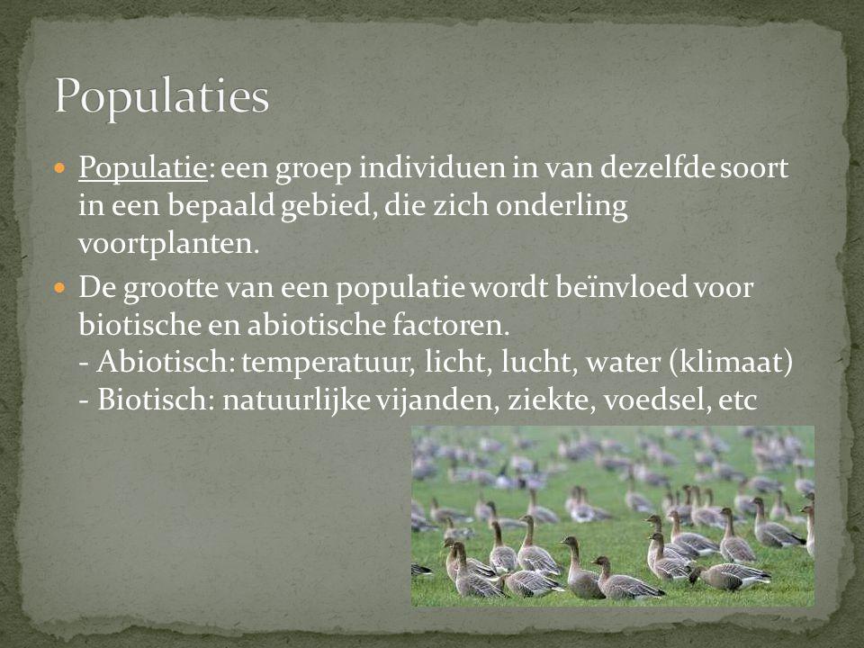 Populatie: een groep individuen in van dezelfde soort in een bepaald gebied, die zich onderling voortplanten. De grootte van een populatie wordt beïnv