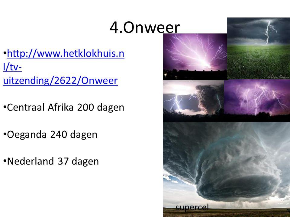 4.Onweer supercel http://www.hetklokhuis.n l/tv- uitzending/2622/Onweer http://www.hetklokhuis.n l/tv- uitzending/2622/Onweer Centraal Afrika 200 dagen Oeganda 240 dagen Nederland 37 dagen