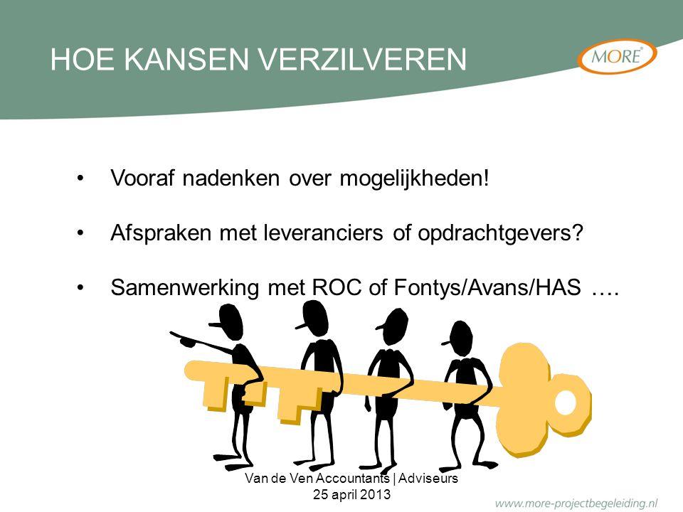 HOE KANSEN VERZILVEREN Vooraf nadenken over mogelijkheden! Afspraken met leveranciers of opdrachtgevers? Samenwerking met ROC of Fontys/Avans/HAS …. V
