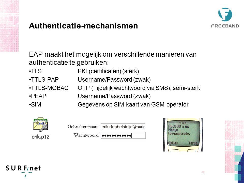 15 Authenticatie-architectuur: IEEE 802.1X Gestandaardiseerde architectuur die beveiligd transport van authenticatie-gegeves mogelijk maakt Laag 2 oplossing voor fixed en wireless, tussen client en AP/switch Keuze in authenticatie-mechanismen d.m.v.