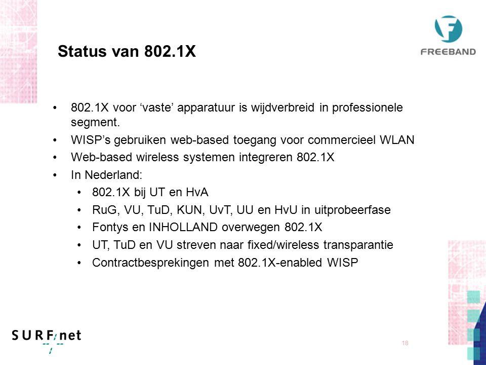17 Authenticatie-infrastructuur RADIUS server Instelling B RADIUS server Instelling A Internet Centrale RADIUS Proxy server Authenticator User DB Supplicant data signalling