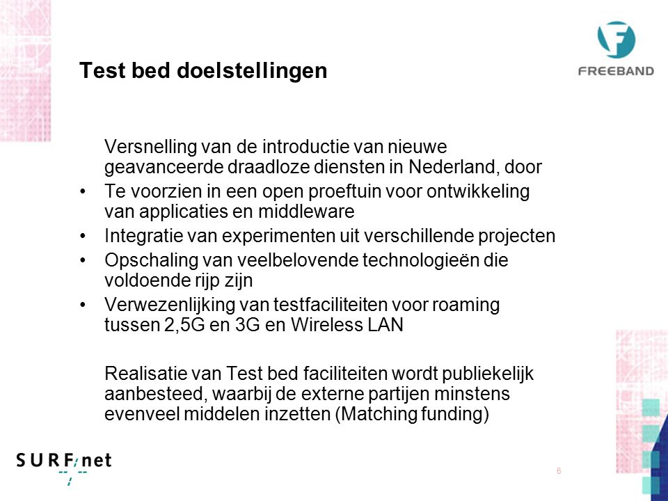 5 Freeband Kennisimpuls - Organisatie Freeband Steering Group Industry and science leaders Research Programme on Telecommunications Application Progra