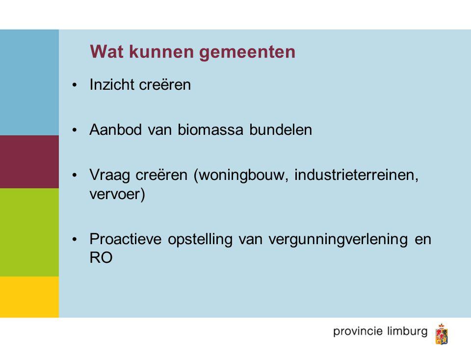 Wat kunnen gemeenten Inzicht creëren Aanbod van biomassa bundelen Vraag creëren (woningbouw, industrieterreinen, vervoer) Proactieve opstelling van vergunningverlening en RO