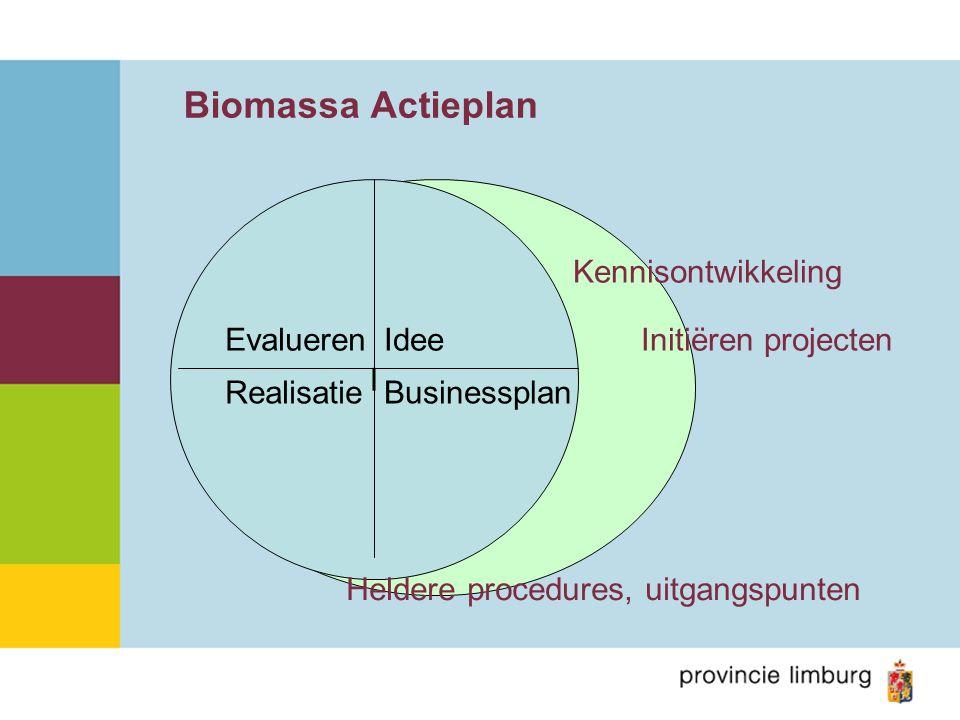 Biomassa Actieplan I Idee BusinessplanRealisatie Evalueren Kennisontwikkeling Initiëren projecten Heldere procedures, uitgangspunten