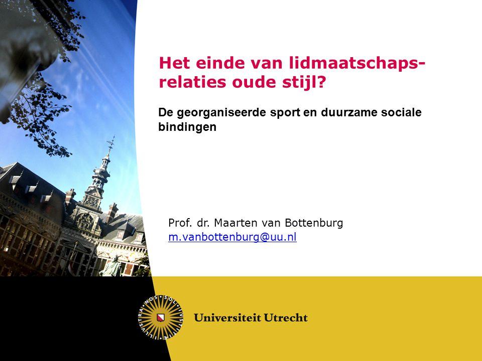 Het einde van lidmaatschaps- relaties oude stijl? De georganiseerde sport en duurzame sociale bindingen Prof. dr. Maarten van Bottenburg m.vanbottenbu