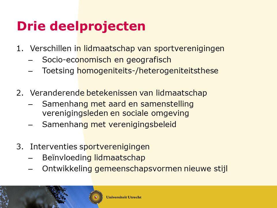 Drie deelprojecten 1.Verschillen in lidmaatschap van sportverenigingen – Socio-economisch en geografisch – Toetsing homogeniteits-/heterogeniteitsthes