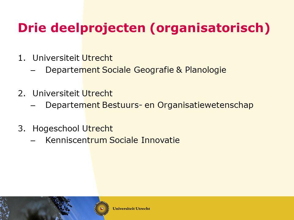 Drie deelprojecten (organisatorisch) 1.Universiteit Utrecht – Departement Sociale Geografie & Planologie 2.Universiteit Utrecht – Departement Bestuurs