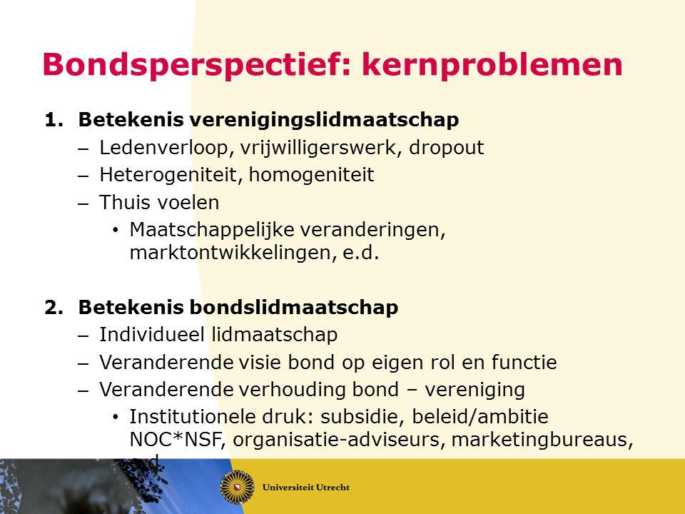 Bondsperspectief: kernproblemen 1.Betekenis verenigingslidmaatschap – Ledenverloop, vrijwilligerswerk, dropout – Heterogeniteit, homogeniteit – Thuis