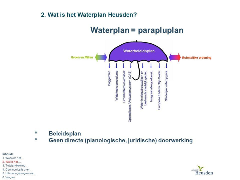 3.Totstandkoming Waterplan Heusden (1) Inhoud: 1.