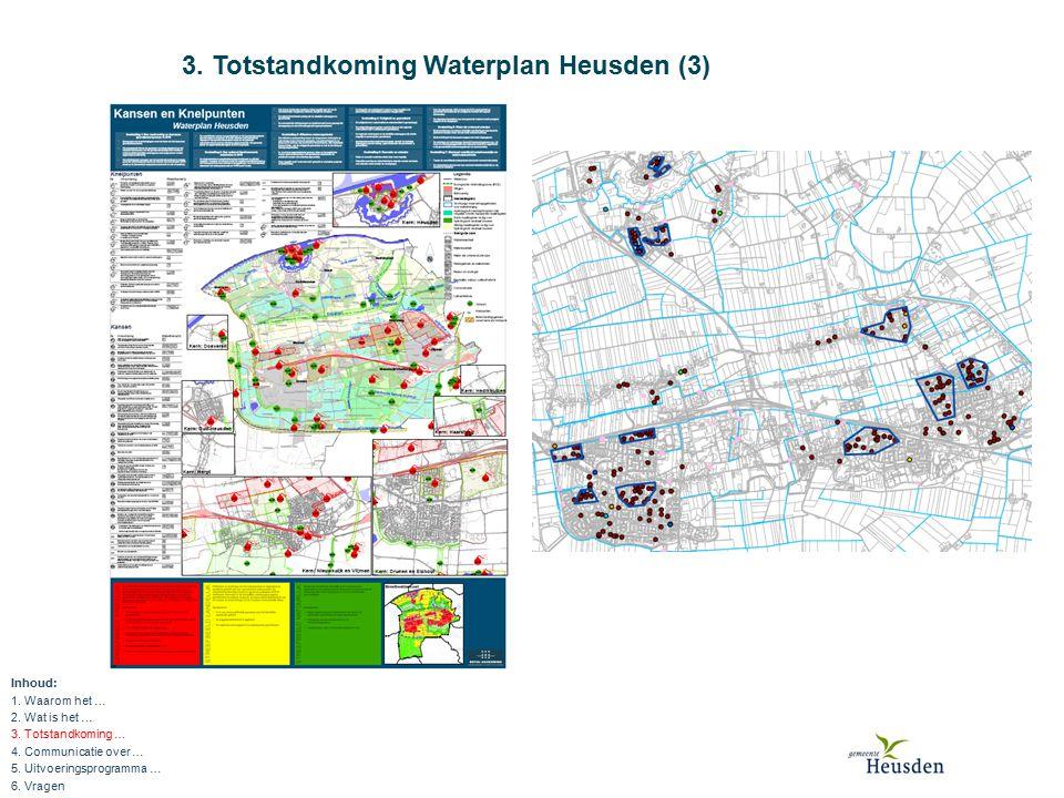 3. Totstandkoming Waterplan Heusden (3) Inhoud: 1. Waarom het … 2. Wat is het … 3. Totstandkoming … 4. Communicatie over … 5. Uitvoeringsprogramma … 6