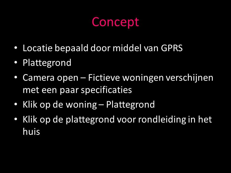 Concept Locatie bepaald door middel van GPRS Plattegrond Camera open – Fictieve woningen verschijnen met een paar specificaties Klik op de woning – Plattegrond Klik op de plattegrond voor rondleiding in het huis