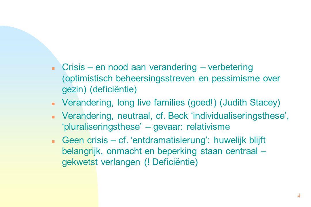 4 n Crisis – en nood aan verandering – verbetering (optimistisch beheersingsstreven en pessimisme over gezin) (deficiëntie) n Verandering, long live families (goed!) (Judith Stacey) n Verandering, neutraal, cf.