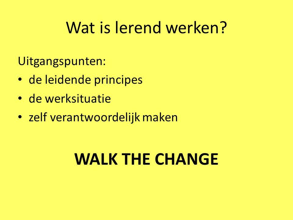 Wat is lerend werken? Uitgangspunten: de leidende principes de werksituatie zelf verantwoordelijk maken WALK THE CHANGE