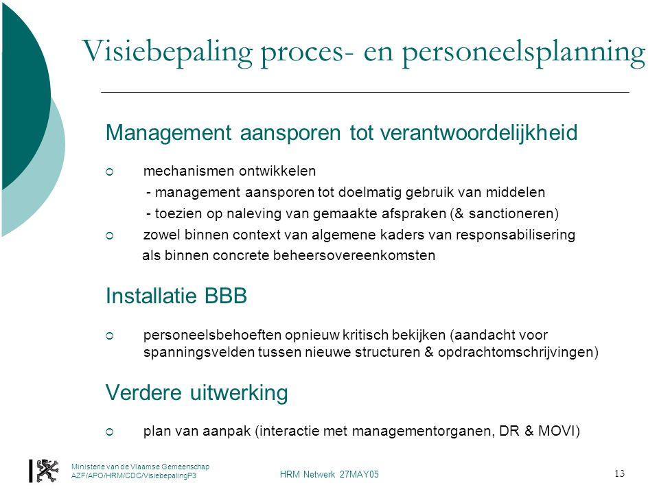 Ministerie van de Vlaamse Gemeenschap AZF/APO/HRM/CDC/VisiebepalingP3 HRM Netwerk 27MAY05 13 Visiebepaling proces- en personeelsplanning Management aansporen tot verantwoordelijkheid  mechanismen ontwikkelen - management aansporen tot doelmatig gebruik van middelen - toezien op naleving van gemaakte afspraken (& sanctioneren)  zowel binnen context van algemene kaders van responsabilisering als binnen concrete beheersovereenkomsten Installatie BBB  personeelsbehoeften opnieuw kritisch bekijken (aandacht voor spanningsvelden tussen nieuwe structuren & opdrachtomschrijvingen) Verdere uitwerking  plan van aanpak (interactie met managementorganen, DR & MOVI)