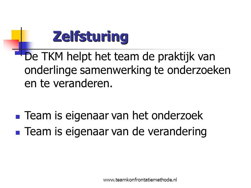www.teamkonfrontatiemethode.nl Zelfsturing De TKM helpt het team de praktijk van onderlinge samenwerking te onderzoeken en te veranderen. Team is eige