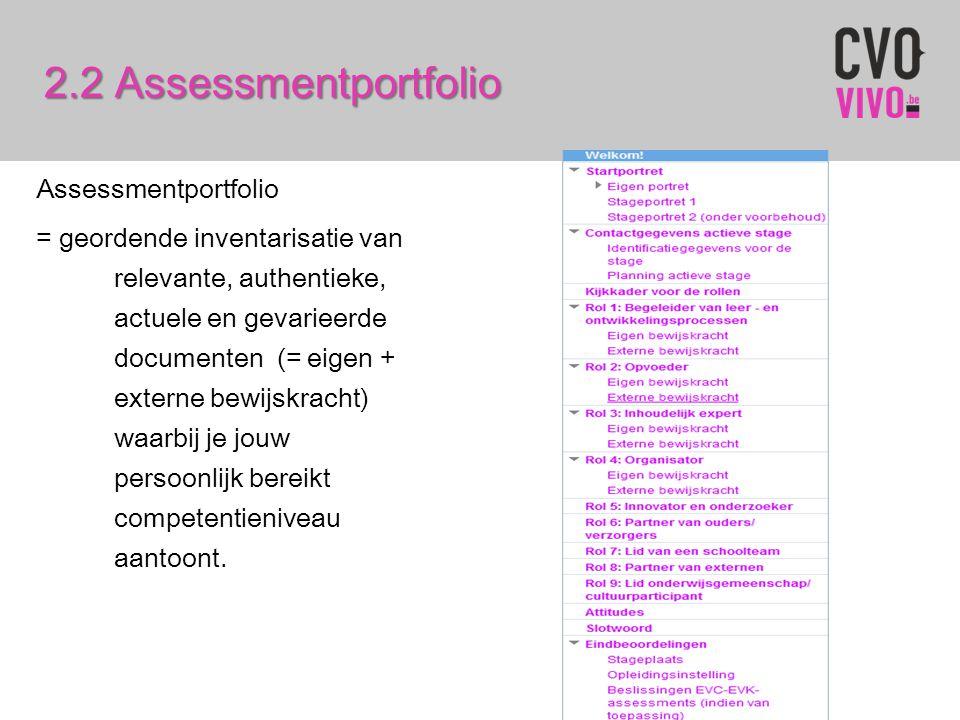 Assessmentportfolio = geordende inventarisatie van relevante, authentieke, actuele en gevarieerde documenten (= eigen + externe bewijskracht) waarbij