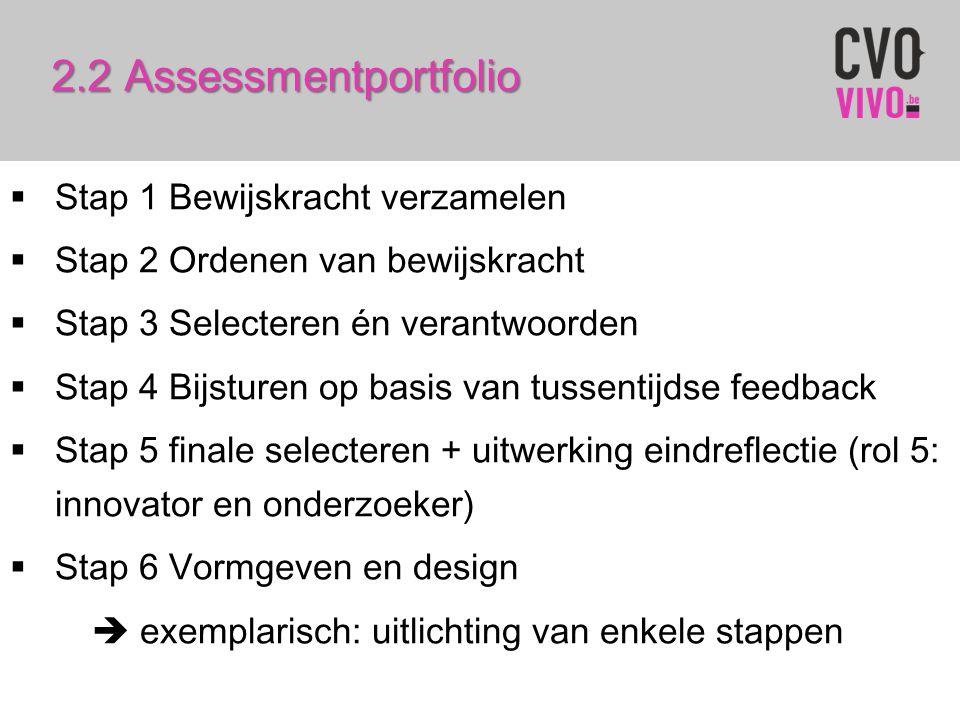 2.2 Assessmentportfolio  Stap 1 Bewijskracht verzamelen  Stap 2 Ordenen van bewijskracht  Stap 3 Selecteren én verantwoorden  Stap 4 Bijsturen op