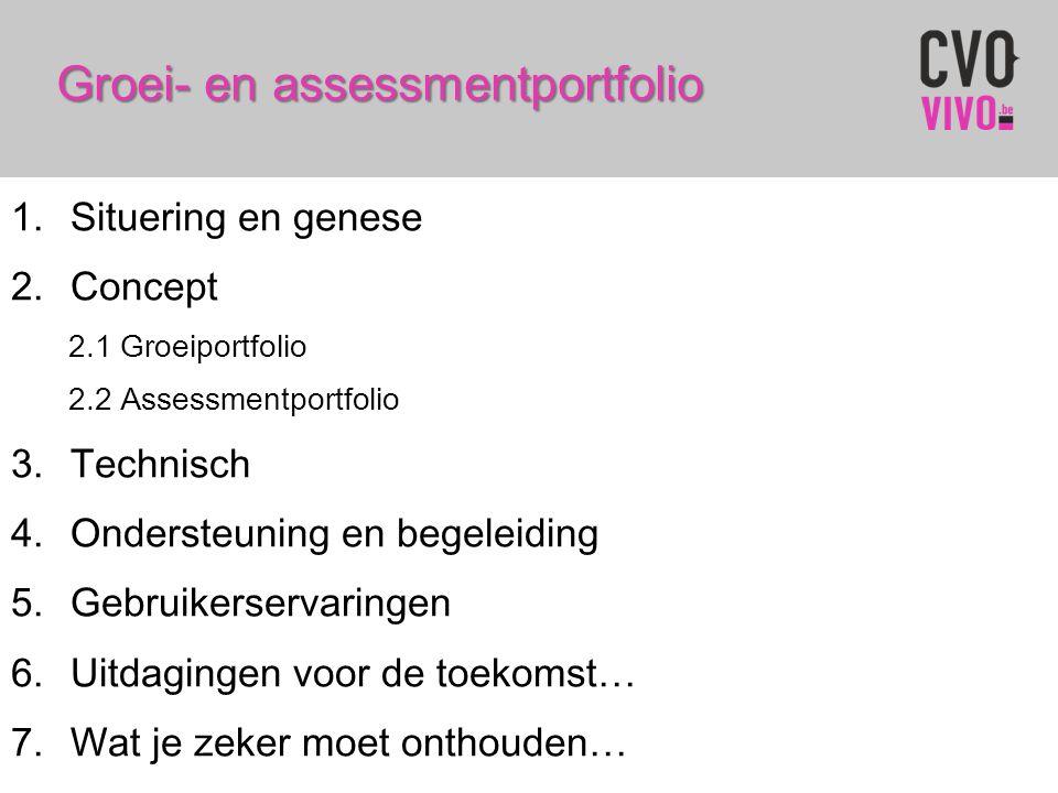 Groei- en assessmentportfolio 1.Situering en genese 2.Concept 2.1 Groeiportfolio 2.2 Assessmentportfolio 3.Technisch 4.Ondersteuning en begeleiding 5.