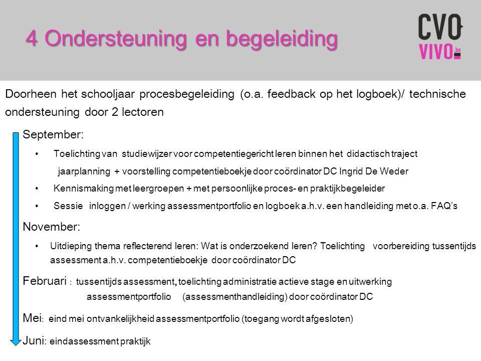 4 Ondersteuning en begeleiding Doorheen het schooljaar procesbegeleiding (o.a. feedback op het logboek)/ technische ondersteuning door 2 lectoren Sept