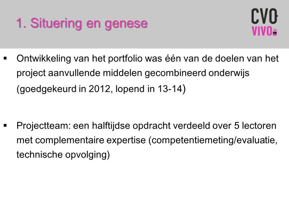 1.Situering en genese 1. Situering en genese  Ontwikkeling van het portfolio was één van de doelen van het project aanvullende middelen gecombineerd