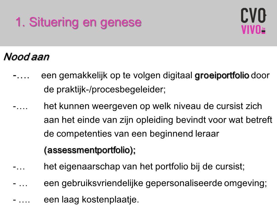 1. Situering en genese Nood aan groeiportfolio -…. een gemakkelijk op te volgen digitaal groeiportfolio door de praktijk-/procesbegeleider; -…. het ku