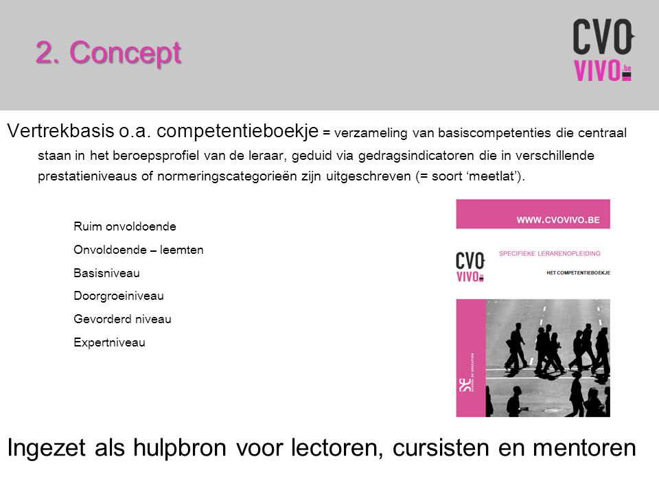 2. Concept Vertrekbasis o.a. competentieboekje = verzameling van basiscompetenties die centraal staan in het beroepsprofiel van de leraar, geduid via