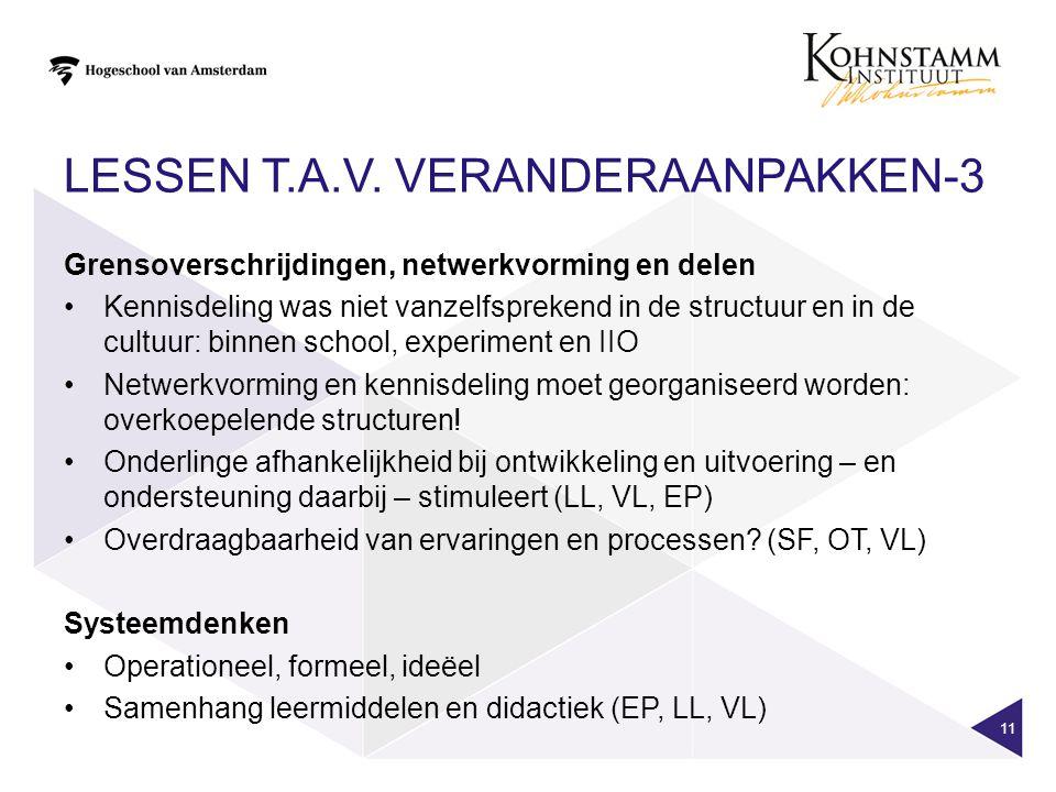 LESSEN T.A.V. VERANDERAANPAKKEN-3 11 Grensoverschrijdingen, netwerkvorming en delen Kennisdeling was niet vanzelfsprekend in de structuur en in de cul