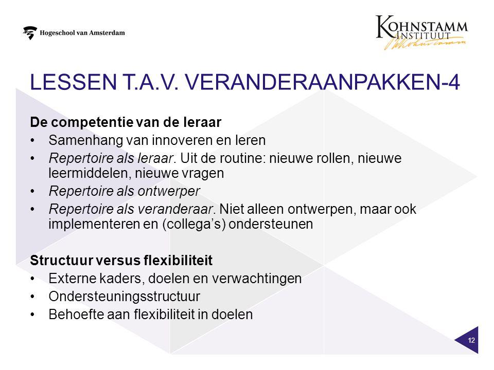 LESSEN T.A.V. VERANDERAANPAKKEN-4 12 De competentie van de leraar Samenhang van innoveren en leren Repertoire als leraar. Uit de routine: nieuwe rolle